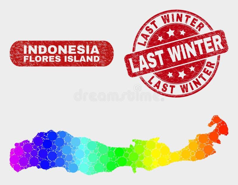Остров Flores мозаики спектра карты Индонезии и водяного знака Grunge прошлой зимой иллюстрация штока