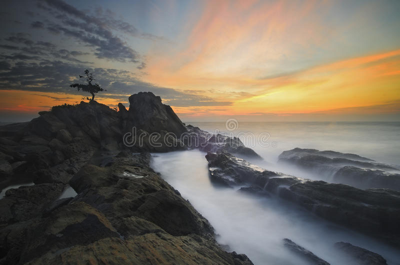 Остров Labuan захода солнца стоковое изображение