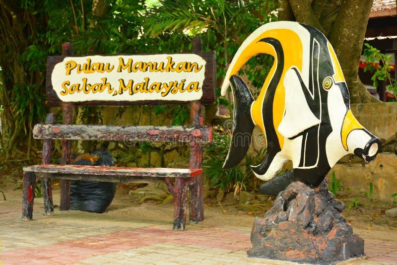 Остров Manukan подписывает внутри Сабах, Малайзию стоковые изображения rf