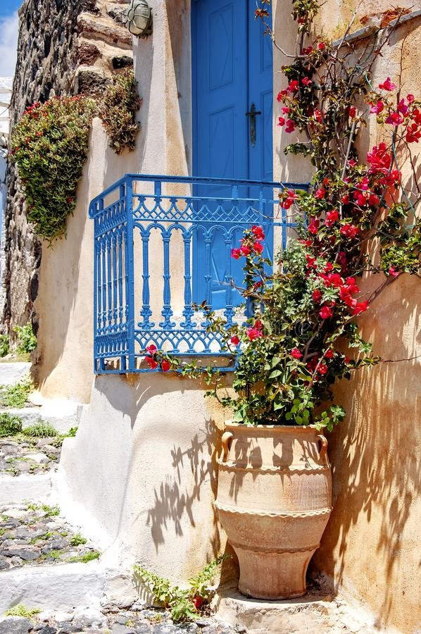 Остров Santorini, Греция, Эгейское море, Европа Детали традиционной cycladic архитектуры, одного из самого красивого перемещения стоковая фотография rf