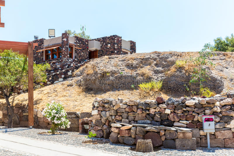 Остров Santorini, Крит, Греция. Руины и археологические раскопки в Fira стоковые фото