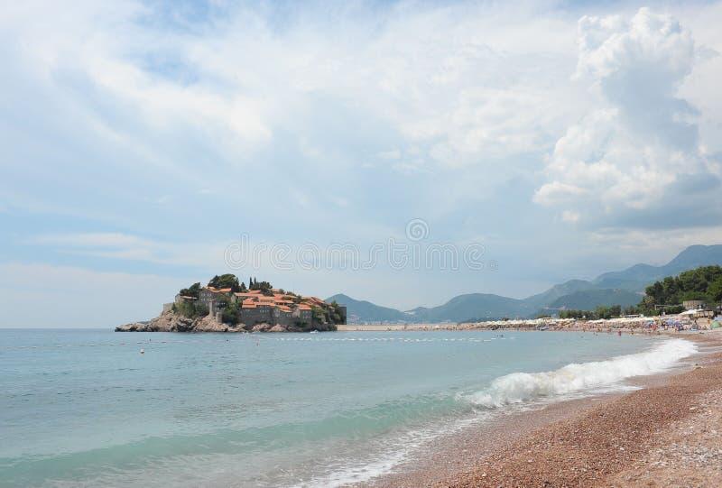 Остров St Stephen на Адриатическом море, Черногории, Европе стоковое фото rf