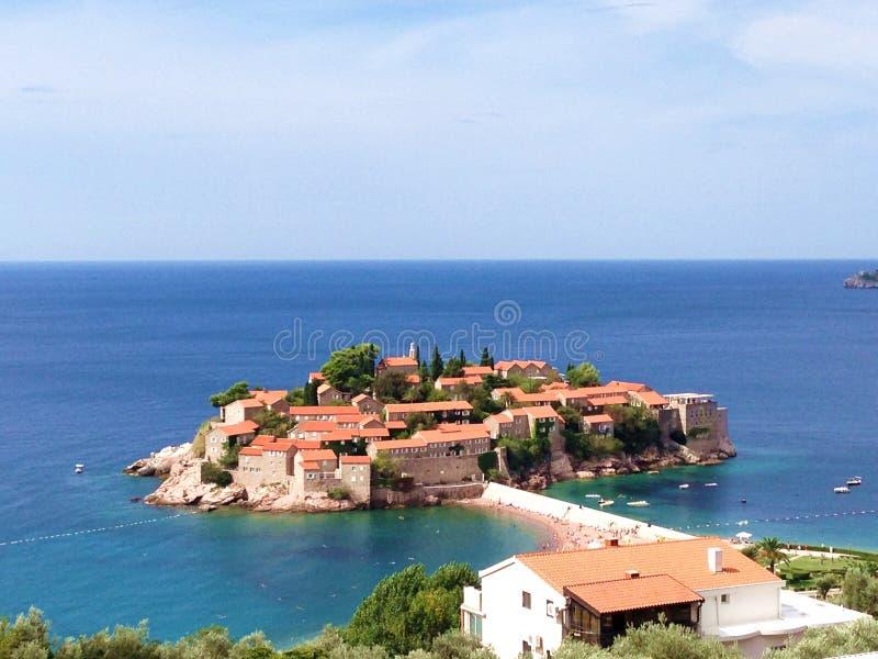 Остров Sveti Stefan в Budva стоковые изображения rf