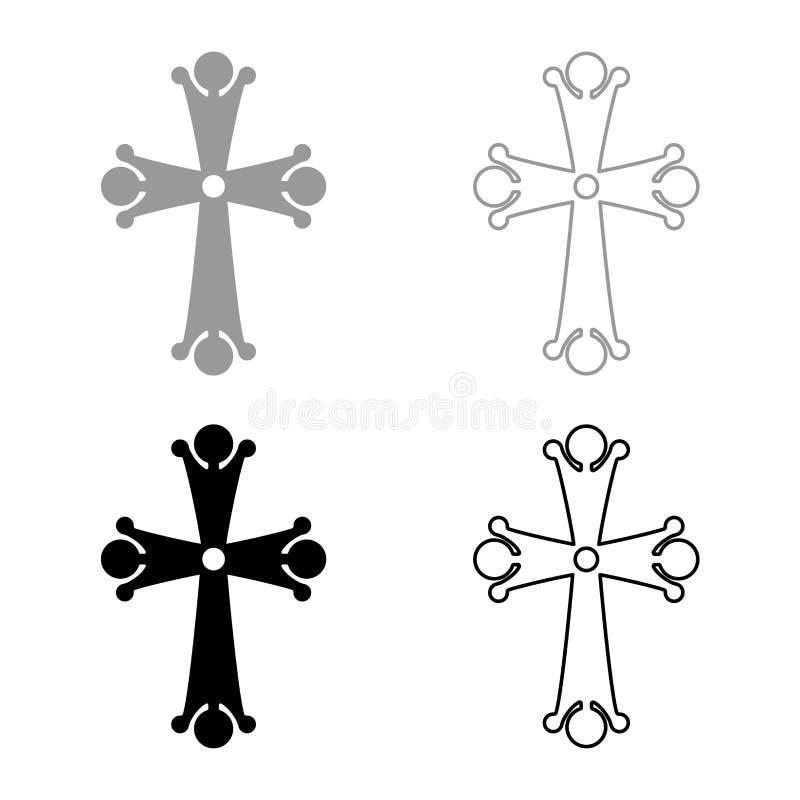 Остроконечное перекрестное падение 4 сформировало перекрестный вензель религиозный значок креста установил изображение стиля черн иллюстрация вектора