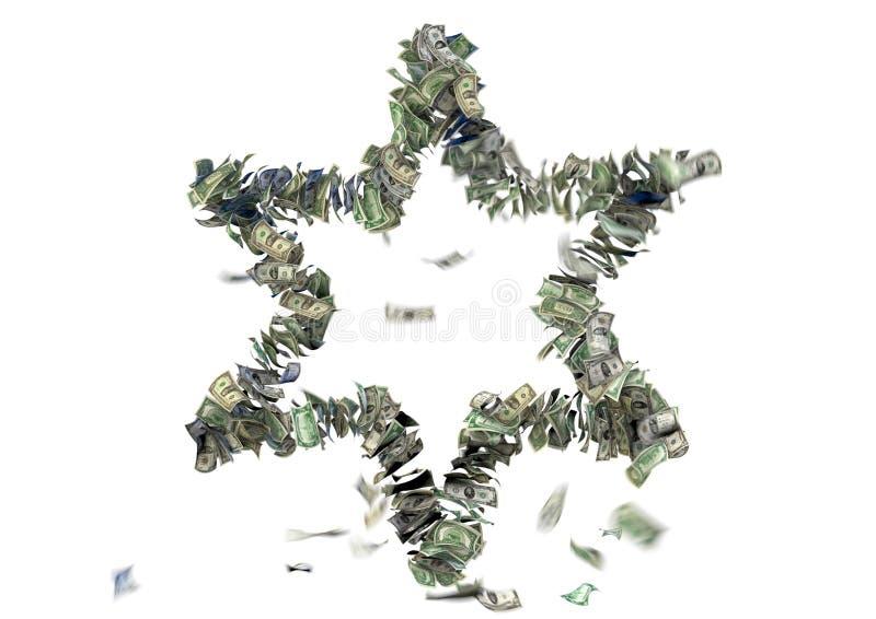 6 остроконечных звезд в счетах США иллюстрация вектора