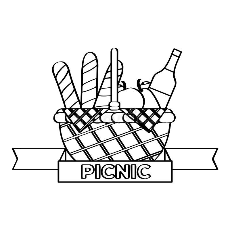 Острословие корзины пикника бутылка, плоды и хлеб вина иллюстрация вектора