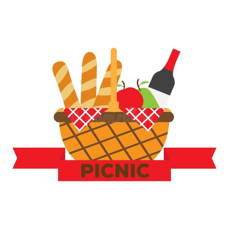Острословие корзины пикника бутылка, плоды и хлеб вина бесплатная иллюстрация