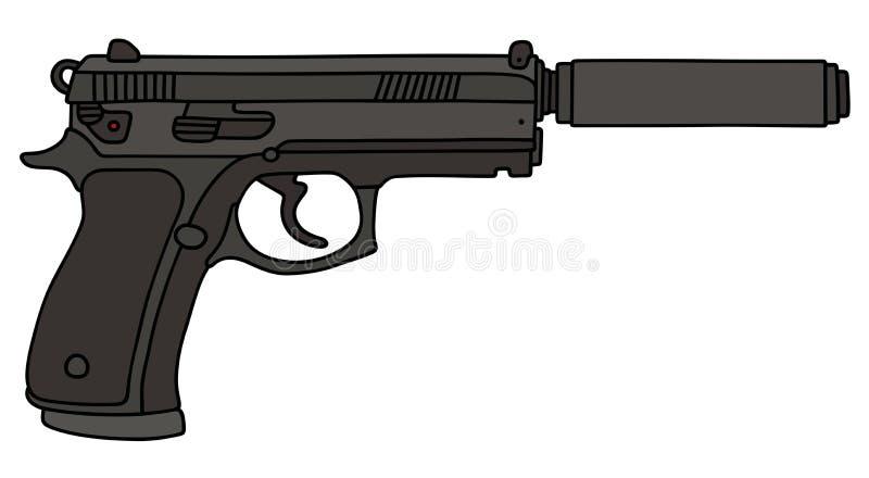 Острословие личного огнестрельного оружия звукоглушитель бесплатная иллюстрация