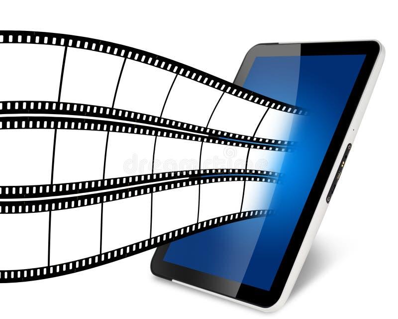 Острословие планшета с видео по запросу иллюстрация вектора