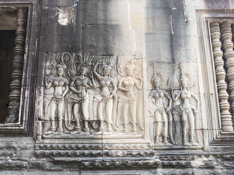 Острословие Apsaras отделки стен стоковое фото