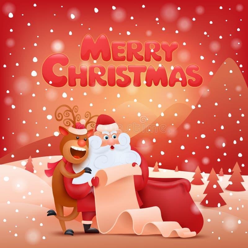 Острословие Санта Клаус рождественской открытки и олени бесплатная иллюстрация