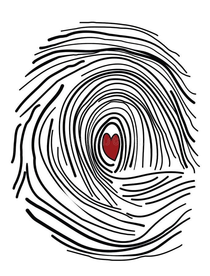 Острословие фингерпринта сердце внутрь иллюстрация вектора