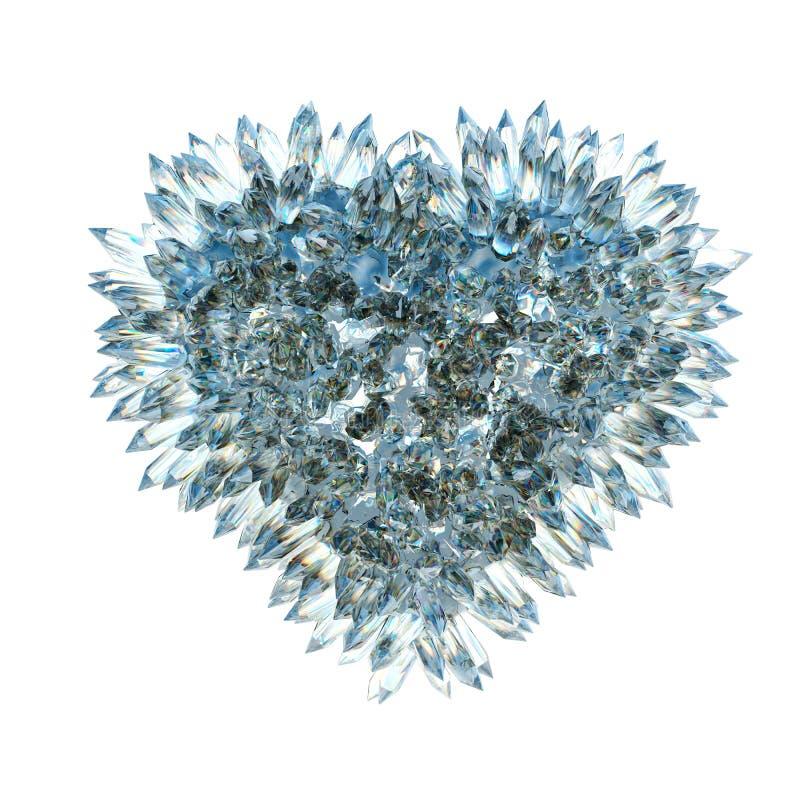 Острые влюбленность и ревность: кристаллическая изолированная форма сердца иллюстрация вектора