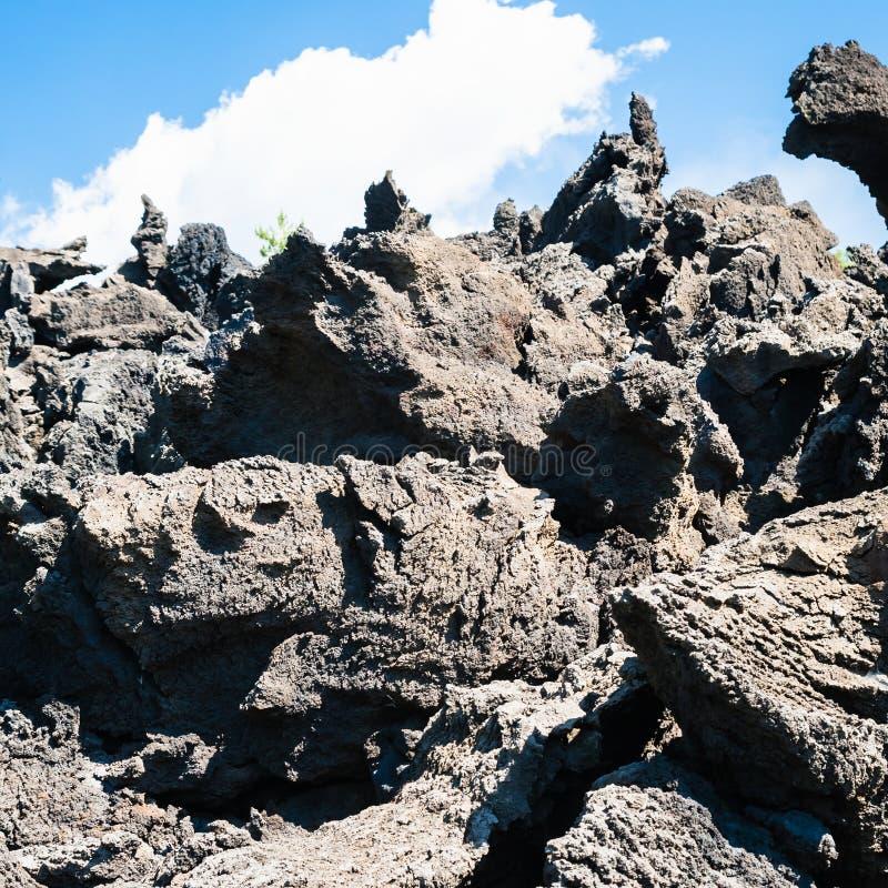 Острые части лавы после извержения Этна вулкана стоковое изображение