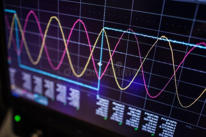 Осциллограф цифров использован опытным электронным инженером стоковые фотографии rf
