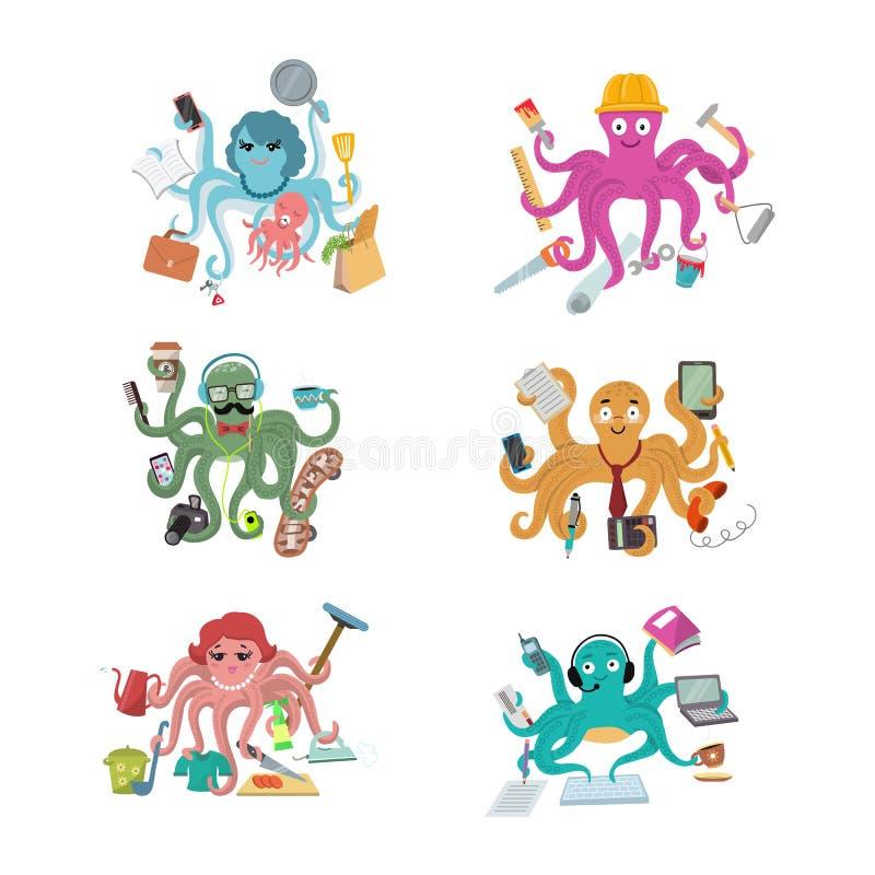 Осьминог в характере осьминогов иллюстрации вектора дела конструктора или домохозяйки бизнесмена делая множественные задачи иллюстрация штока