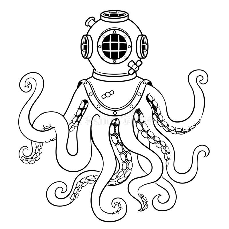 Осьминог и старый вектор расцветки шлема водолаза бесплатная иллюстрация