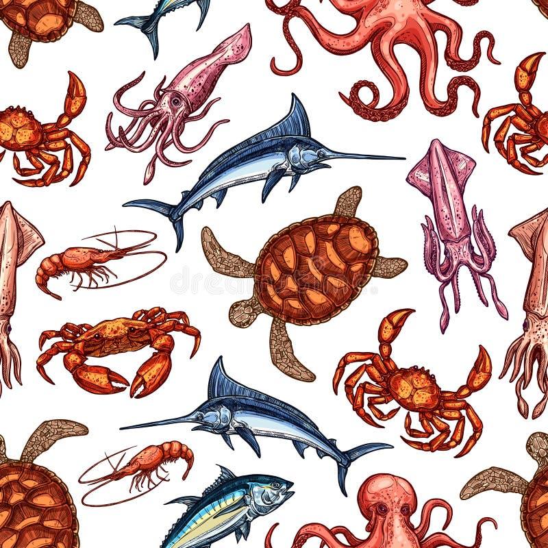 Осьминог, краб, кальмар, рыба семг Картина морепродуктов иллюстрация вектора