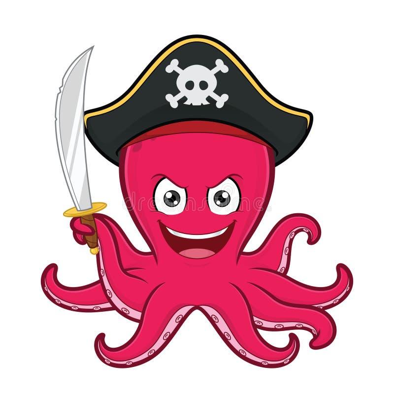 Осьминог пирата иллюстрация вектора