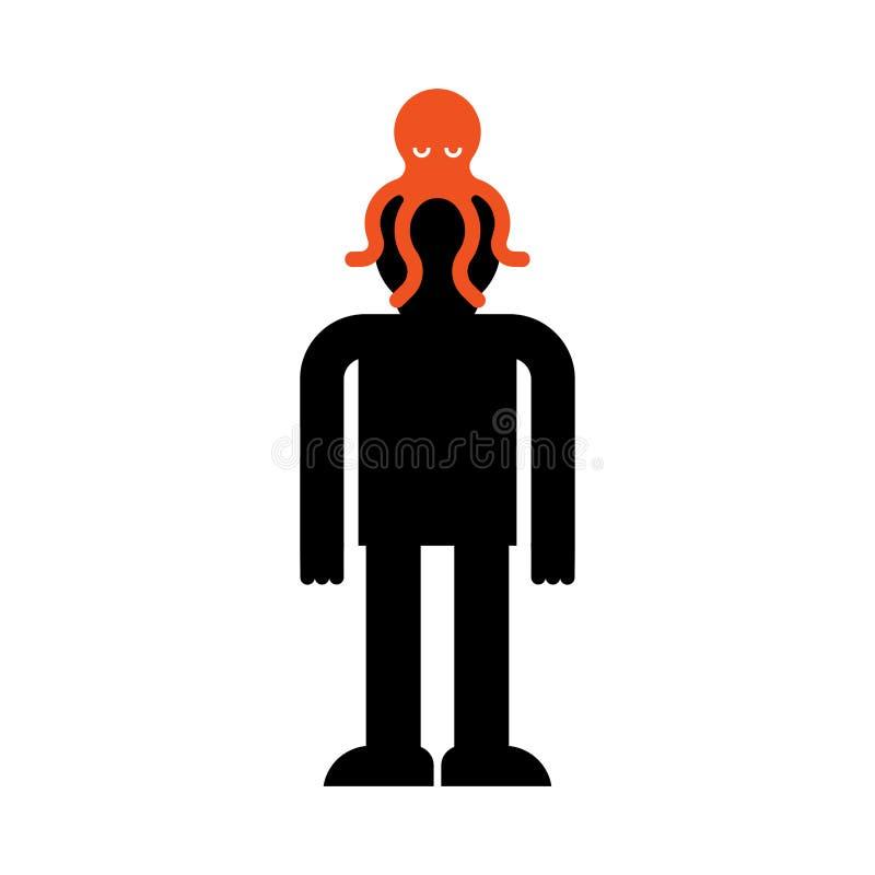 Осьминог чужеземца на голове Управление сознанием Управление чужеземцев чудовища человеческого сознавания иллюстрация штока