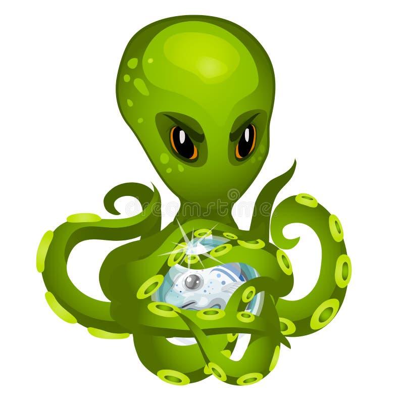 Осьминог чужеземца шаржа зеленый держа в щупальцах рыб зародыша изолированных на белой предпосылке Конец-вверх шаржа вектора иллюстрация вектора