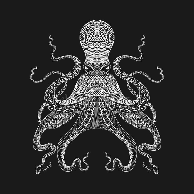 Осьминог Zentangle стилизованный белый Нарисованное рукой illustr шнурка иллюстрация штока