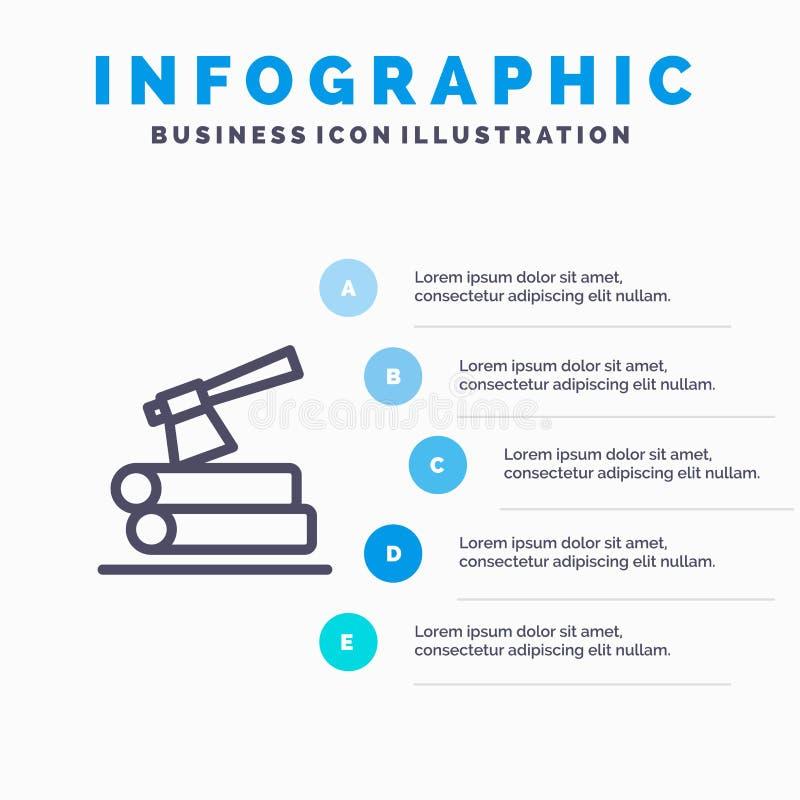 Ось, журнал, тимберс, деревянная линия значок с предпосылкой infographics представления 5 шагов иллюстрация вектора