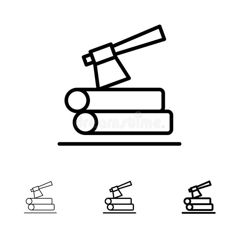 Ось, журнал, тимберс, деревянная смелая и тонкая черная линия набор значка иллюстрация вектора