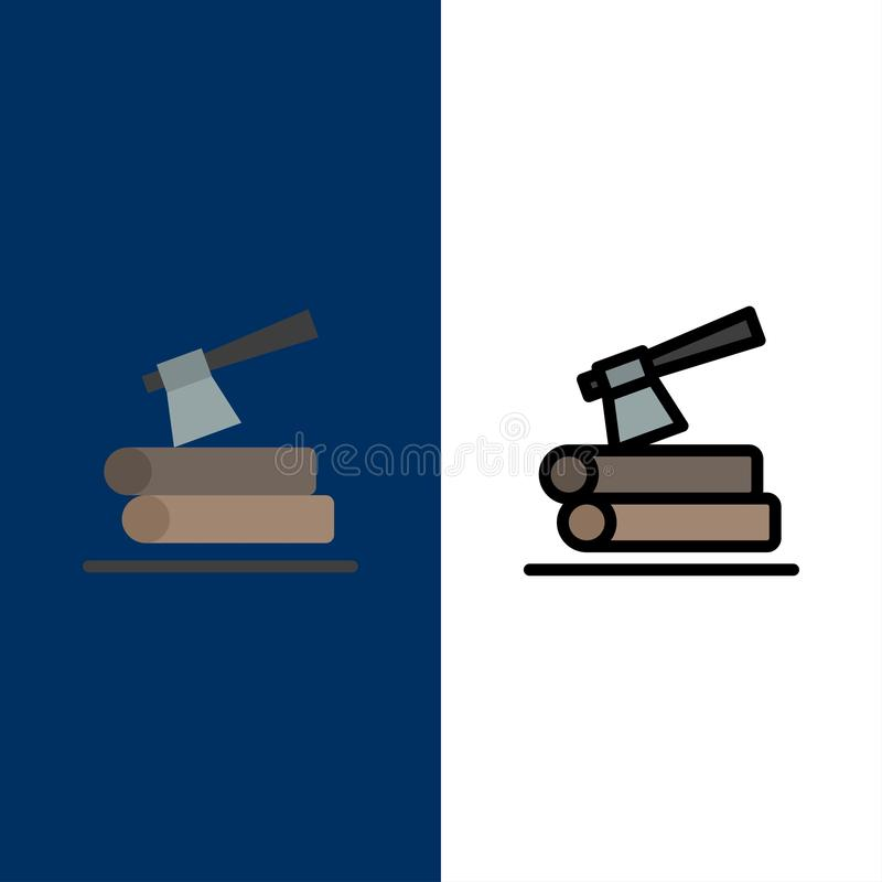 Ось, журнал, тимберс, деревянные значки Квартира и линия заполненный значок установили предпосылку вектора голубую иллюстрация штока