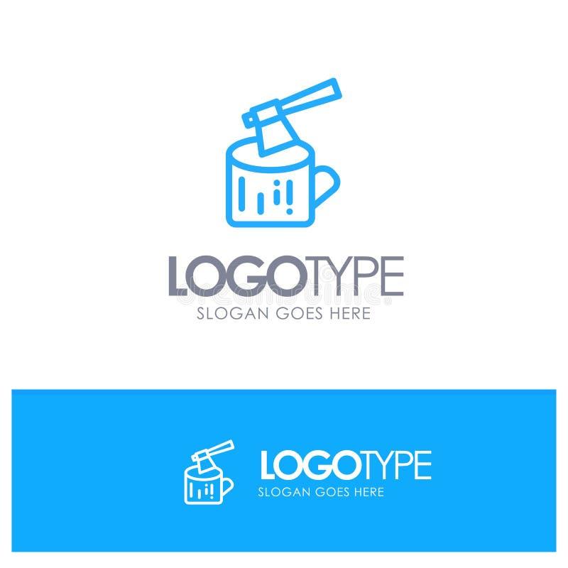 Ось, журнал, тимберс, деревянный голубой логотип плана с местом для слогана иллюстрация штока