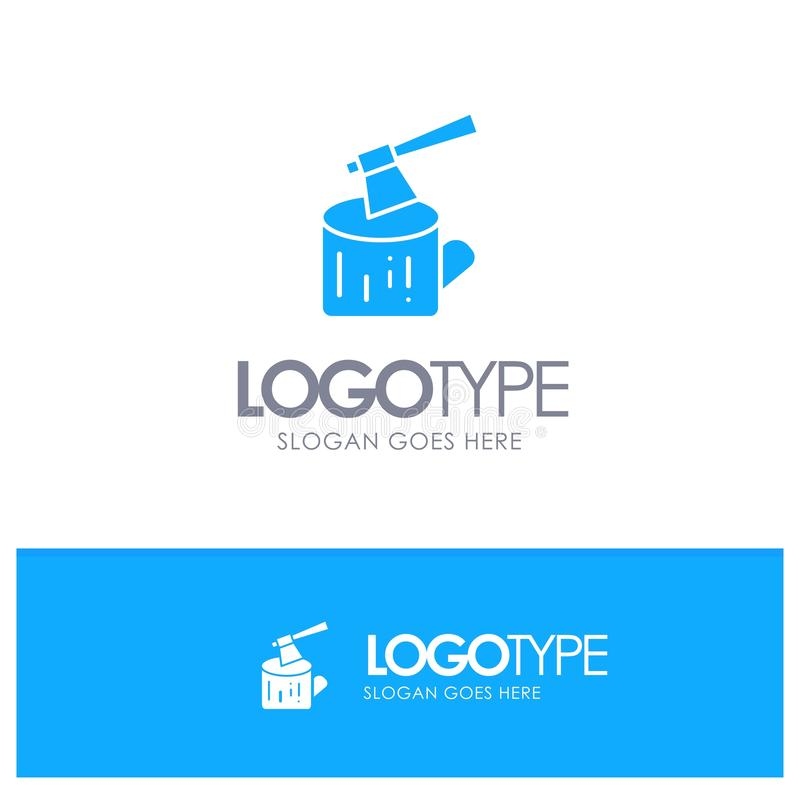 Ось, журнал, тимберс, деревянный голубой твердый логотип с местом для слогана иллюстрация вектора
