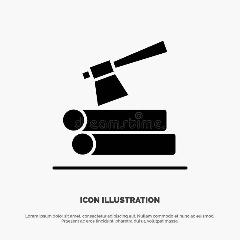 Ось, журнал, тимберс, деревянный твердый вектор значка глифа бесплатная иллюстрация