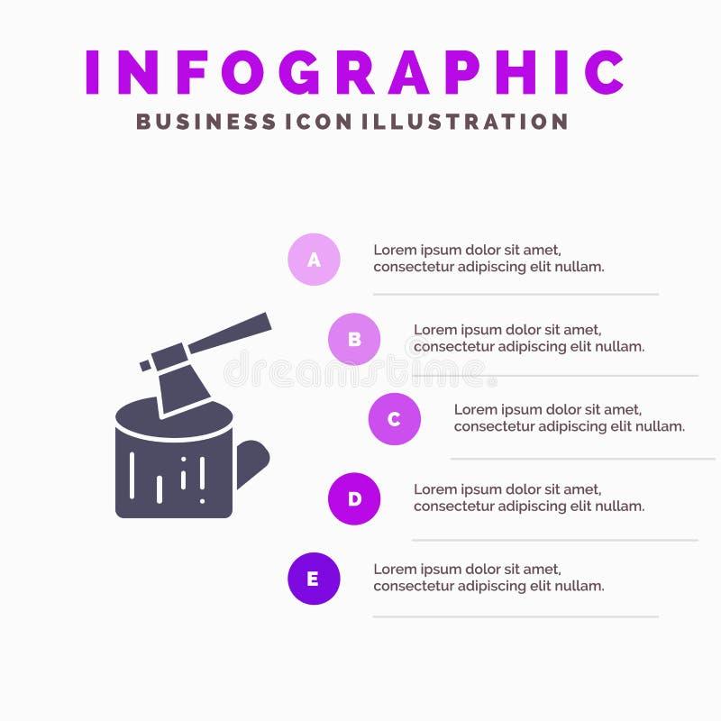 Ось, журнал, тимберс, предпосылка представления шагов Infographics 5 значка древесины твердая иллюстрация вектора