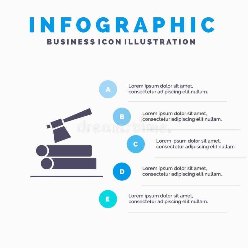 Ось, журнал, тимберс, предпосылка представления шагов Infographics 5 значка древесины твердая бесплатная иллюстрация