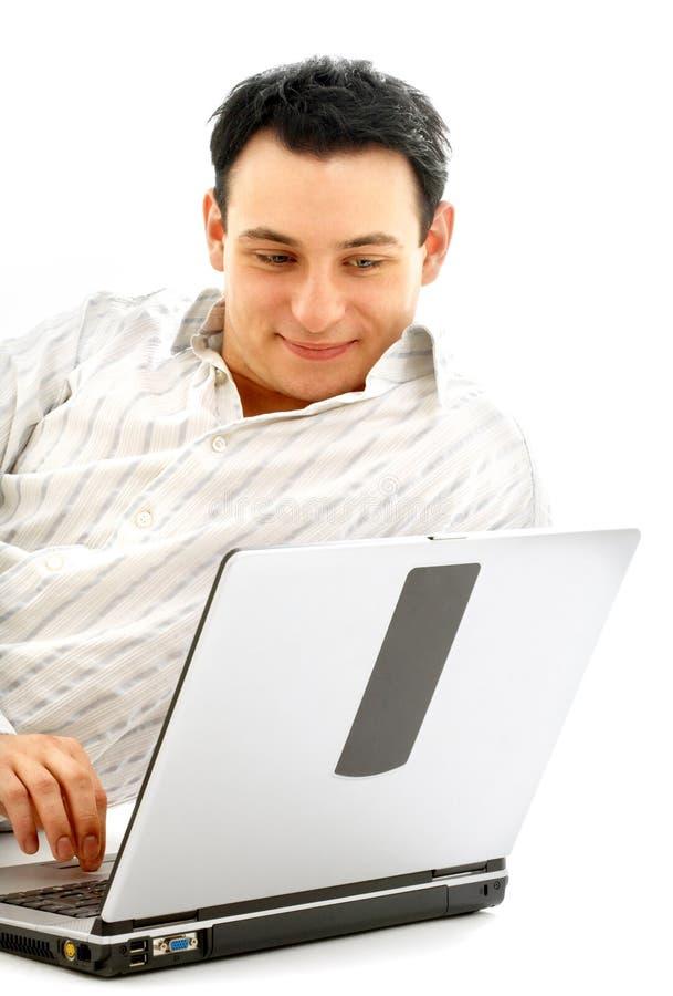ослабленный портрет человека компьтер-книжки стоковое изображение rf