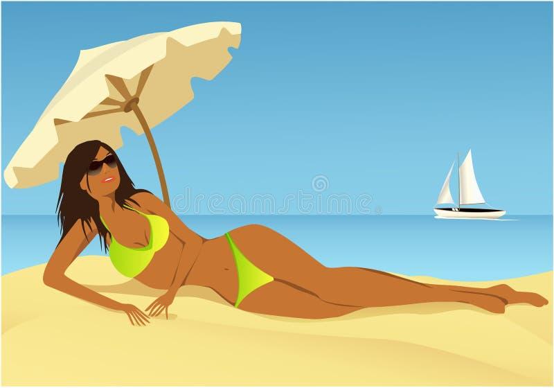 Ослаблять на пляже иллюстрация вектора