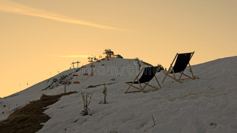 Ослаблять на piste лыжи в Leogang стоковая фотография rf
