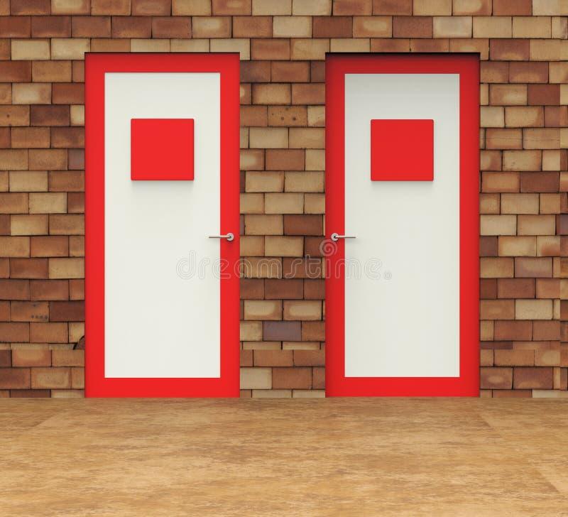Отборные середины дверей выбирая решение и дверную раму бесплатная иллюстрация