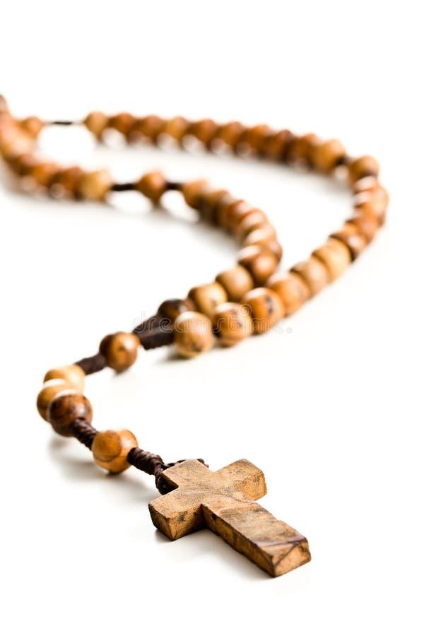 отбортовывает rosary деревянный стоковое фото
