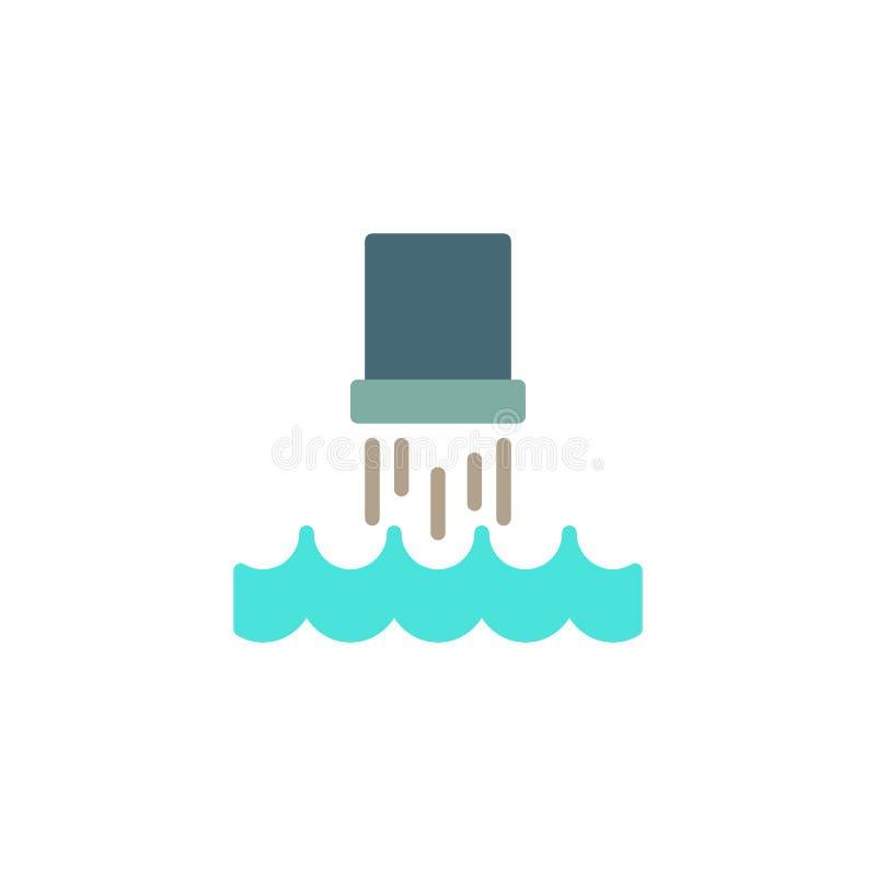 Отбросы производства от трубы в значок моря плоский иллюстрация штока