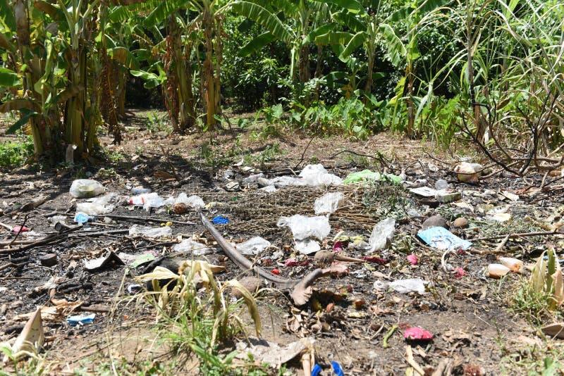 Отброс в парке разлил отброс на земле большого города использовал загрязнение окружающей среды грязных пластиковых бутылок грязно стоковое изображение rf
