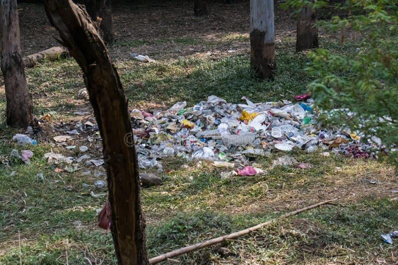 Отброс и пластиковый отход в туристическом месте леса стоковая фотография rf