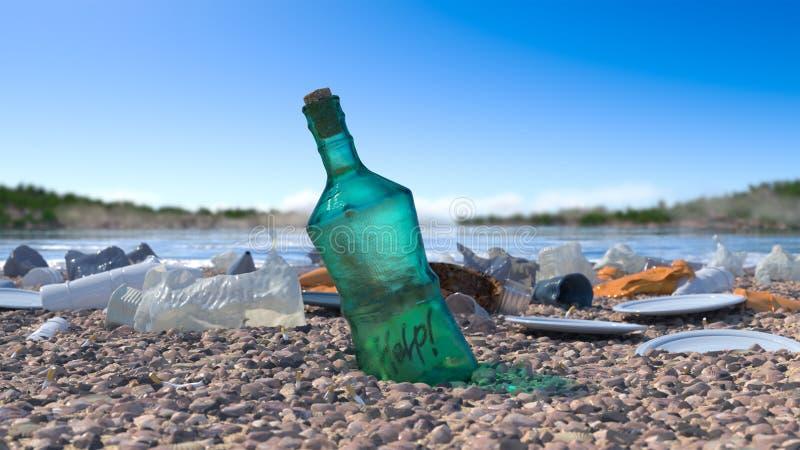 Отброс на концепции пляжа моря экологической стоковые изображения