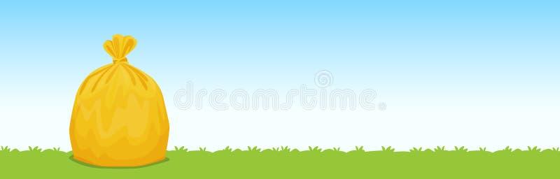 Отброс на предпосылке голубого неба травы, сумки сумки желтый пластик иллюстрация штока