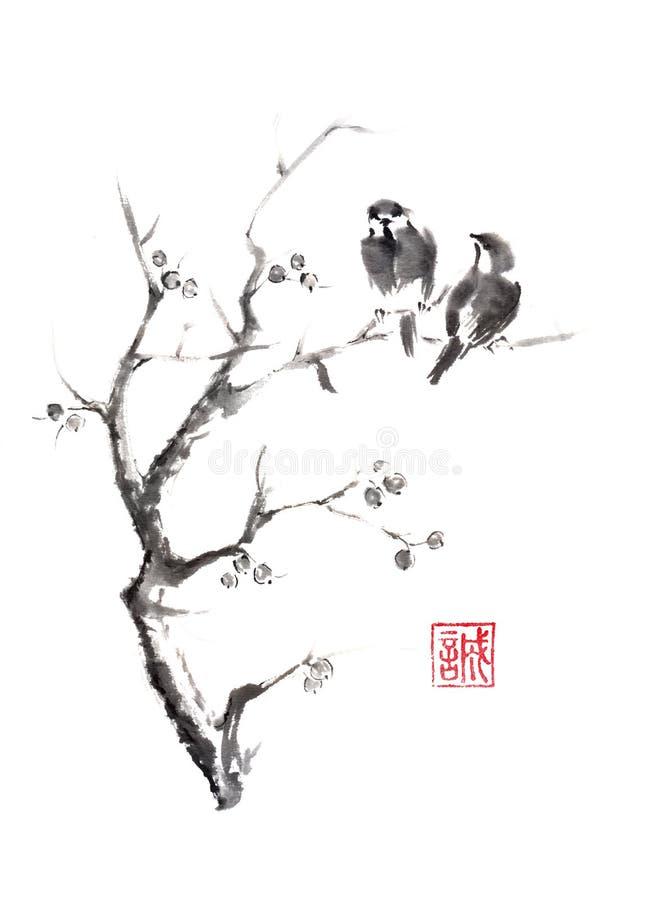 Отбуксируйте птиц на картине чернил sumi-e дерева первоначально бесплатная иллюстрация