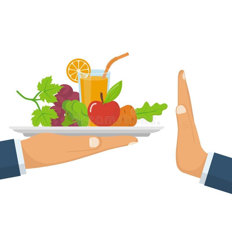 Отвергать предложенную здоровую еду Еда выжимк сырцовая бесплатная иллюстрация