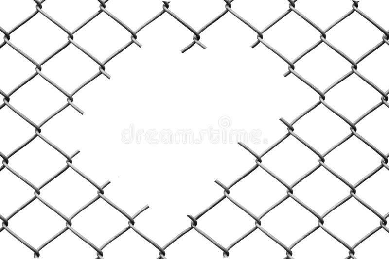 Отверстие в загородке ячеистой сети на белизне стоковое фото rf