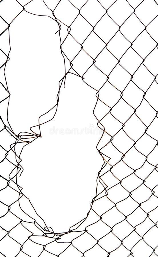 Отверстие на металлическом стробе, сорванной цепи изолированной на белизне стоковые изображения
