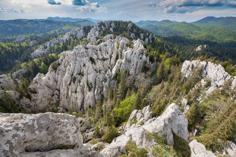 Отвесная пересеченность природного заповедника stijene Bijele, Хорватии стоковая фотография rf