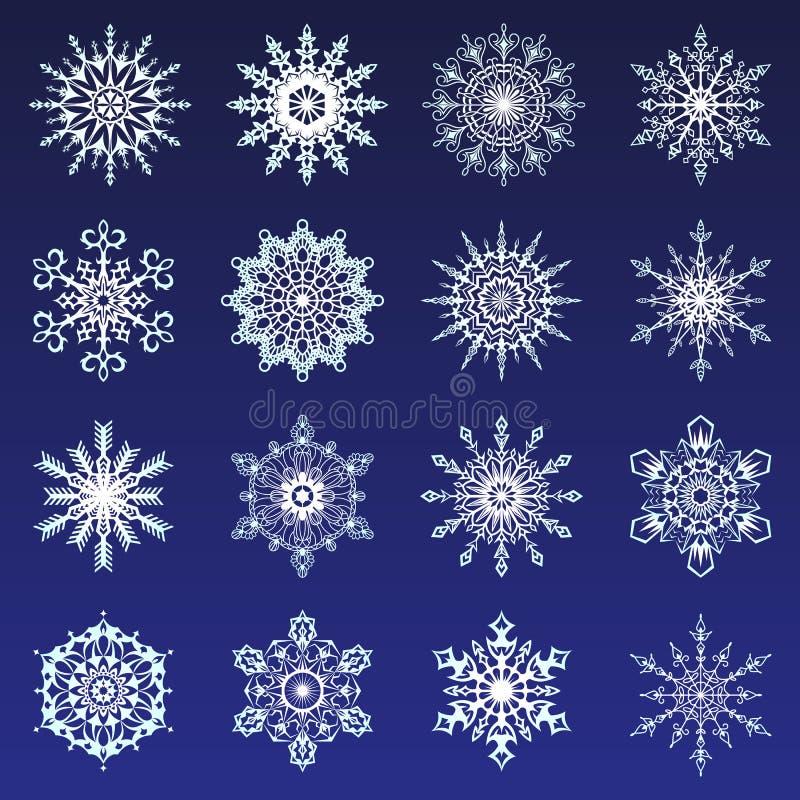 Отдельные снежинки Doodles снега Нового Года clipart рождества вектора значка иллюстрация белого деревенского кристаллическая в п иллюстрация штока